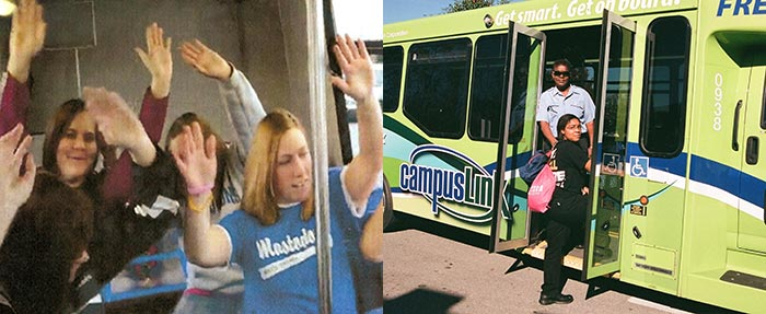 campusLink students having fun on bus