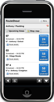 Example of RouteShout Bus Locator on mobile